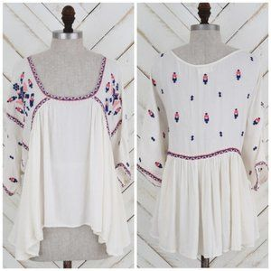 Altar'd State Boho Embroidered Flowy Oversize Top